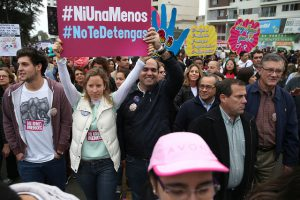People fill the streets of Lima, Peru to protest violence against women. Photo by Luis Ruiz / Prensa Minedu.