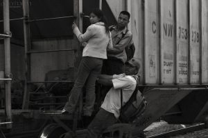 Central American refugees often use trains to travel northwards through Mexico. Photo by Peter Haden.
