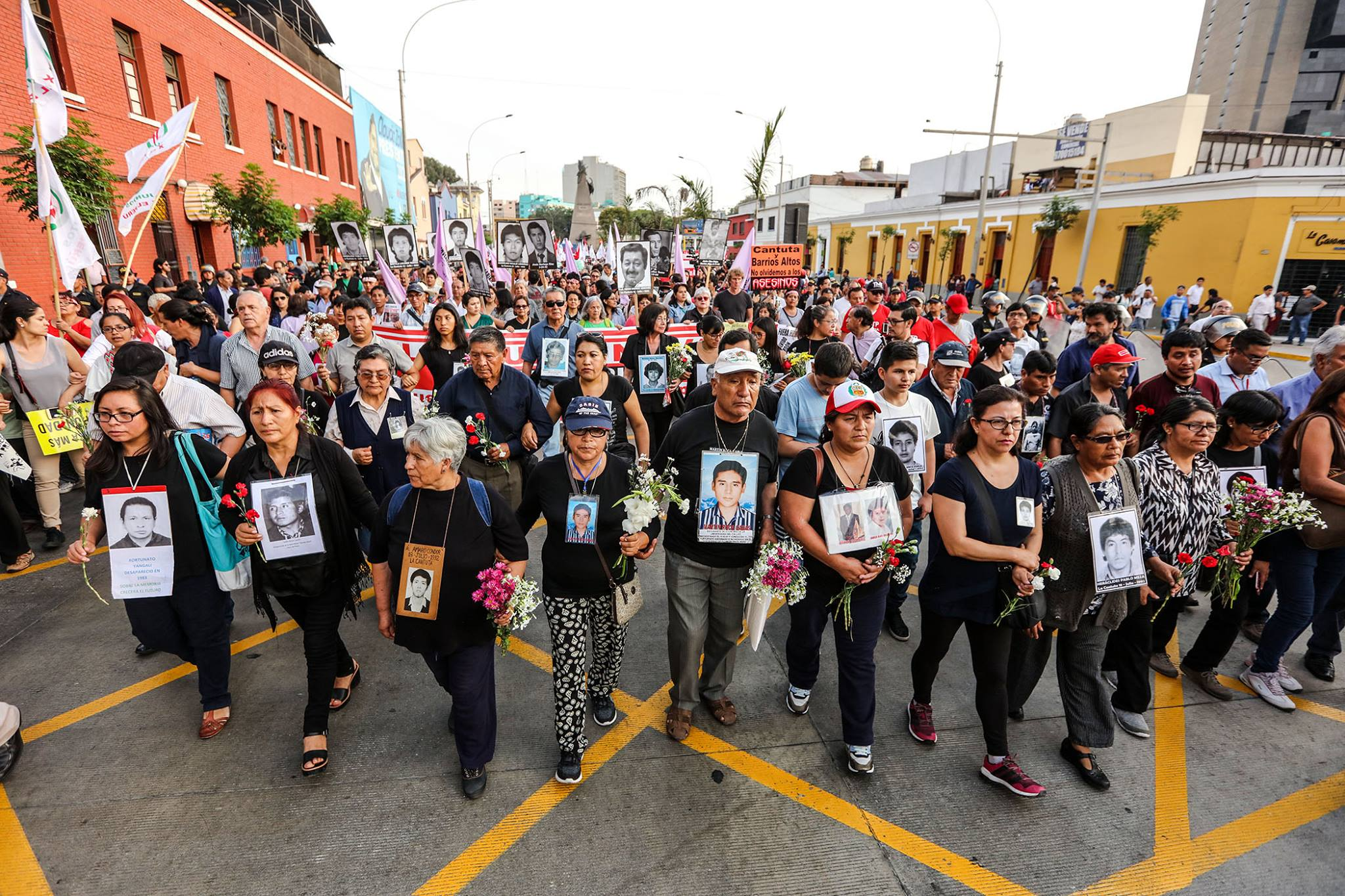 A protest march in Lima
